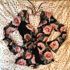 Flare-Sleeve Floral Romper